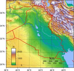 Topografisk kart over Irak