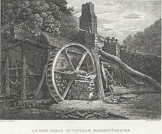 "Lines written a few miles above Tintern Abbey - A print by Thomas Hearne of the ""Iron Forge at Tintern"" (1795)"