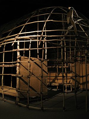 Longhouses of the indigenous peoples of North America - Iroquois longhouse replica in New York State Museum, Albany, NY