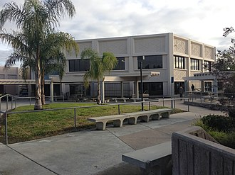 Irvine High School - Exterior of Irvine High School, with Student Center in the background