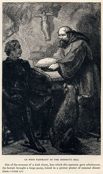 Ivanhoe - Le Noir Faineant in the Hermit's Cell by J. Cooper, Sr. From an 1886 edition of Walter Scott's works