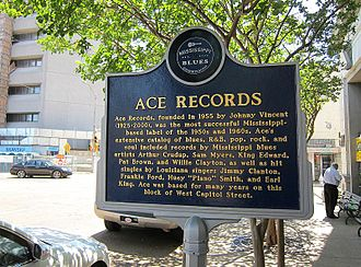 Ace Records (United States) - Ace Record's marker on the Mississippi Blues Trail