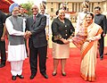 Jacob Zuma and his wife Mrs. Nompumelelo Ntuli-Zuma being welcomed by the President, Smt. Pratibha Devisingh Patil and the Prime Minister, Dr. Manmohan Singh on their arrival at the ceremonial reception.jpg