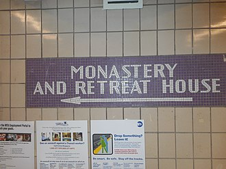 Jamaica–179th Street (IND Queens Boulevard Line) - Mosaics directing to the Monastery and Retreat House