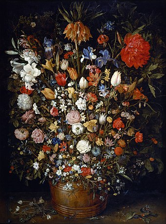 Jan Brueghel the Elder, Flower Still Life, 1606/7. Brueghel was an innovator of the flower still life genre. Jan Brueghel the Elder - Flowers in a Wooden Vessel - Google Art Project.jpg