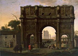 Alessandro Salucci - Arch of Constantine, Rome, with Jan Miel