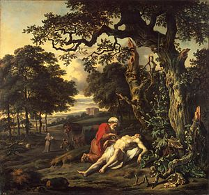 Parable of the Good Samaritan - The Parable of the Good Samaritan by Jan Wijnants (1670) shows the Good Samaritan tending the injured man.