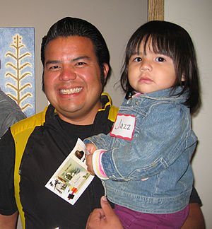 Santa Clara Pueblo, New Mexico - Santa Clara Pueblo artist Jason Garcia and daughter