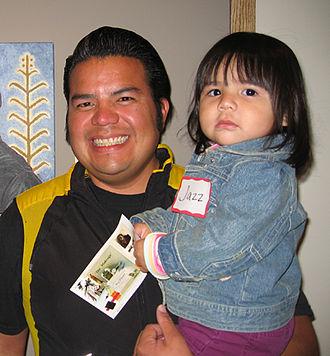 Santa Clara Pueblo, New Mexico - Santa Clara Pueblo artist Jason Garcia and daughter