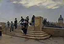 BÉRAUD Jean A Windy Day on the Pont des Arts 1880-81