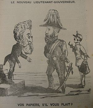Lieutenant Governor of Jersey - In this caricature of 1873, Bailiff of Jersey Jean Hammond greets newly arrived Lieutenant Governor Norcott