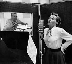 Paul Weston - Weston and Stafford in the recording studio in 1952.