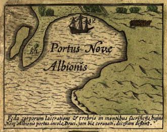 Jodocus Hondius - Hondius map of bay of New Albion