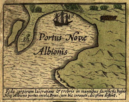 The Hondius map The Vera Totius Expeditionis Navticae inset depicts Drake's encampment at New Albion, Portus Novas Albionis. The Latin word Portus denotes a port or harbor within a river or estuary near its mouth, strictly correlating with the geography of Drake's Cove. Joducus hondius new albion 1589.png