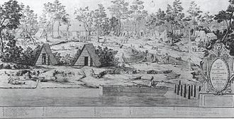 Mississippi Company - View of the camp of John Law at Biloxi, December 1720