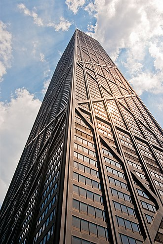 Fazlur Rahman Khan - In 1960, buildings over 20 stories were still newsworthy. Apartments in the John Hancock Center in Chicago – shown here with its distinctive exterior X-bracing – are located as high as the 90th floor.