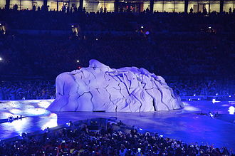 2012 Summer Olympics closing ceremony - A sculpture of the face of John Lennon at the closing ceremony.