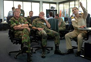 John Reith (British Army officer) - Sir John Reith (left) and German Gen. Ranier Shuwirth receive an operations brief from Turkish Naval Captain at Allied Air Command, 2007