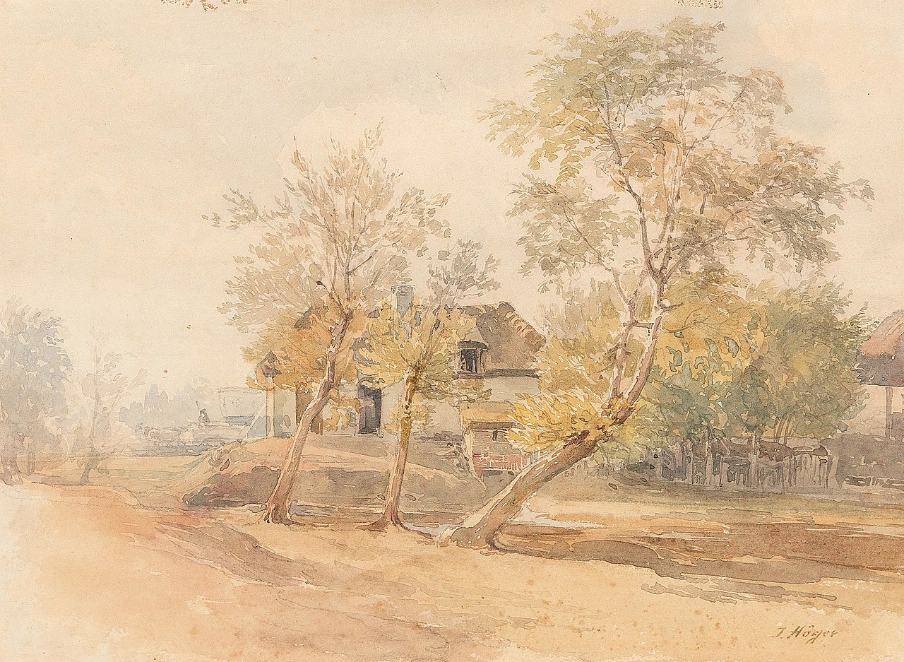 Joseph Höger - A group of trees near a farmhouse.jpg
