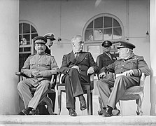 Joseph Stalin, Franklin D Roosevelt and Winston Churchill, in Teheran, 1943, edit.jpg