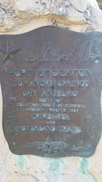 Juan Domínguez de Mendoza - Texas Historical Marker