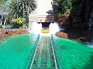 The Jurassic Park River Adventure ride in Univ...