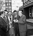 Kárpát utca 25-27, Zöld Óvoda. Jobbra Kádár János, balról a második Biszku Béla. Fortepan 25446.jpg