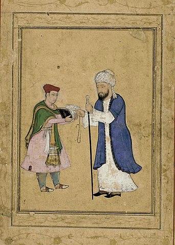 Хафиз читает свои стихи. Могольская миниатюра, ок. 1600г.