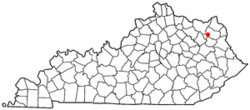 Location of Olive Hill, Kentucky