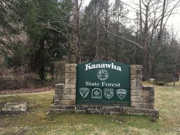 Kanawha State Forest entry sign.JPG