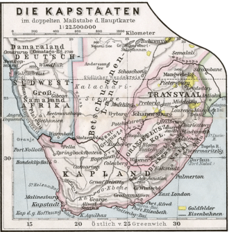 German map of 1905 still showing the undivided Bechuanaland area Kapstaaten 1905.png