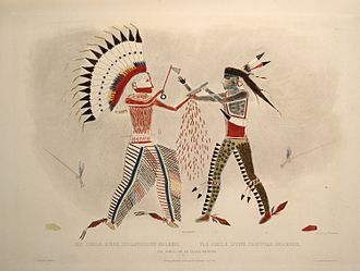 Mato-tope - Karl Bodmer facsimile of ledger art showing Four Bears (at left) in a duel with a Cheyenne chief. The hand wound of the knife entitled him to pose with a wooden knife, as seen on the pictures of Catlin and Bodmer. The realistic work of both artists inspired Four Bears to make this true-to-life drawing of his feat.