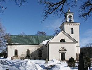 Töres döttrar i Wänge - The church of Kärna. The ballad relates the tradition of why the church was built.