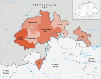 Karte Kanton Schaffhausen Bezirke 2013