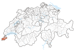 Cairt o Swisserland, location o Geneva highlighted