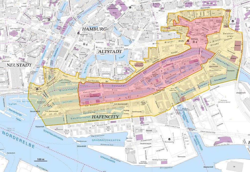 Karte Weltkulturerbe Speicherstadt und Kontorhausviertel mit Chilehaus