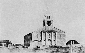 Kawaiahaʻo Church - First known photograph of the church in 1857 by Hugo Stangenwald