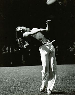 Throwing sports - Ken Westerfield, side-arm (forehand) Frisbee distance throwing Record, 552'. Boulder, Colorado, 1978.