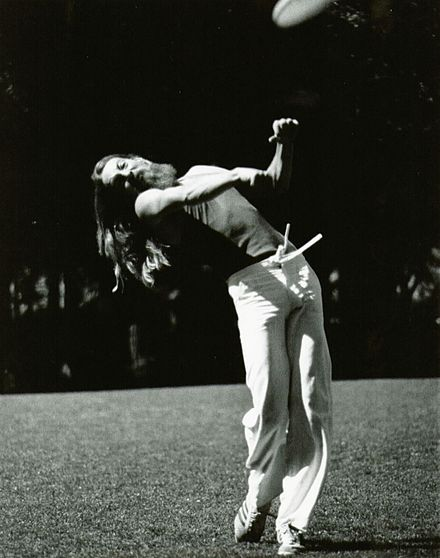 Ken Westerfield sidearm distance throwing record 552' Boulder, Colorado. 1978. Ken Westerfield Sidearm throw.jpg