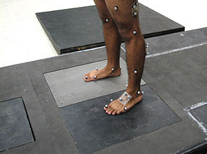 Motion capture - Reflective markers attached to skin to identify bony landmarks and the 3D motion of body segments
