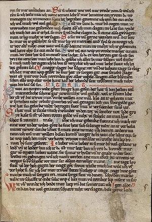 Kleine Heidelberger Liederhandschrift - A page (folio 26r) from the Kleine Heidelberger Liederhandschrift