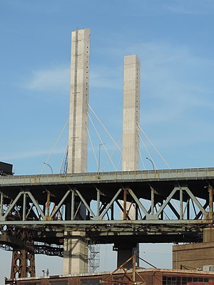 Kosciuszko Bridge (New York City) - Two pylons built, June 2016