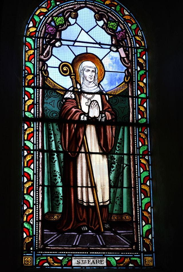 Den hellige Fara, blyglassvindu i kirken Saint-Sulpice i La Celle-sur-Morin