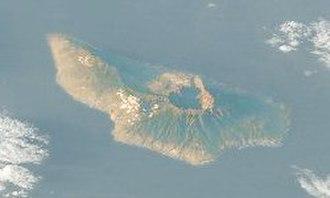 La Palma - Satellite image of La Palma, with the Caldera de Taburiente  visible (north is to the lower right)