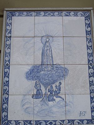 Ironbound - Many houses and apartments in the Ironbound are embellished with elaborate azulejos.  One common image is Our Lady of Fatima, seen here.