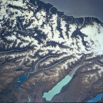 Lake Pukaki - Lake Pukaki (bottom centre) and its neighbouring lakes are separated from the West Coast by the Southern Alps.