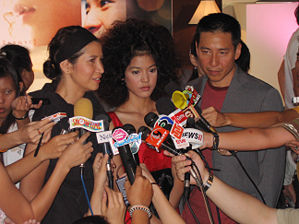 Thai actors of the 2007 film Ploy talk to the press at the Thai press preview in Bangkok.