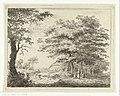 Landschap met boerderij en figuren onder bomen, RP-P-1890-A-15307.jpg