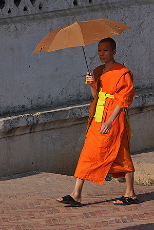 Buddhist monk in the streets of Luang Prabang