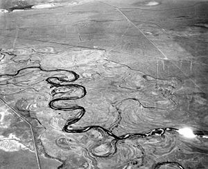 Floodplain - The Laramie River meanders across its floodplain in Albany County, Wyoming, 1949.